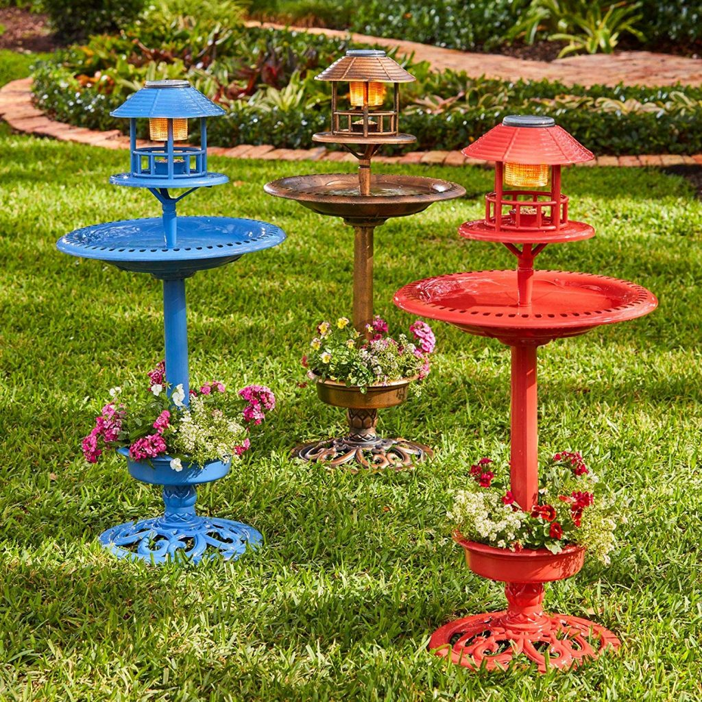 BrylaneHome multiple color solar bird bath